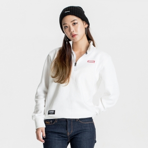 GSC215 HALF ZIP SWEATER WHITE